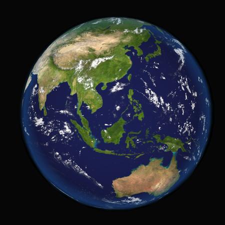topografia: Asia vista desde el espacio 3d ilustración