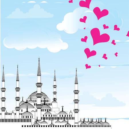 I Love Istanbul Design vector The Blue Mosque, Sultanahmet Camii, Turkey.