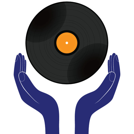 vynil: Hands hold vinyl record disk isolated white. Save, buy, enjoy, play it design vector.