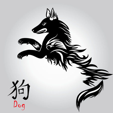Puppy animal tattoo of Chinese New Year of the Dog vector file organized in layers for easy editing.