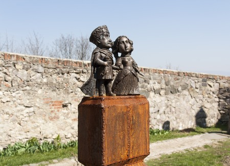 Mini-statue of Countess Ilona Zrini and Count Imre Tekeli in  Palanok photo, Mukachevo, Ukraine