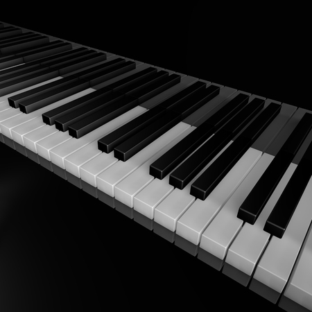 Piano keys of music device close frontal view 3d rendrer illustration Stock Photo