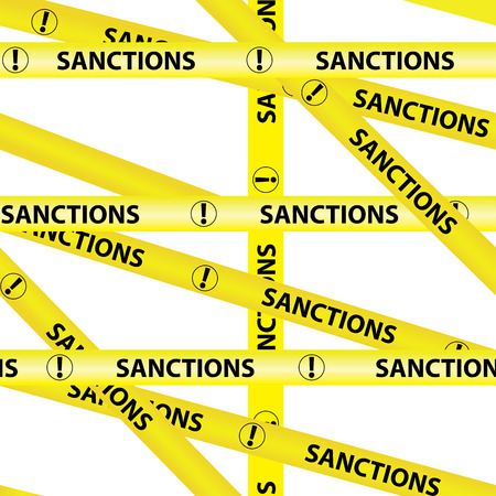 Amarillo advertencia cintas inscripción SANCIONES Aislado fondo transparente amarillo advertencia precaución cinta cinta vector sobre fondo blanco Foto de archivo - 85130012