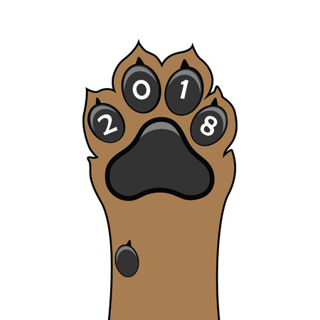 Puppy animal paw vector illustration. Çizim