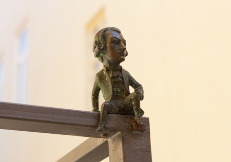 Wolfgang Amadeus Mozart mini sculpture photo: Uzhhorod, Ukraine - April 2, 2017 Редакционное