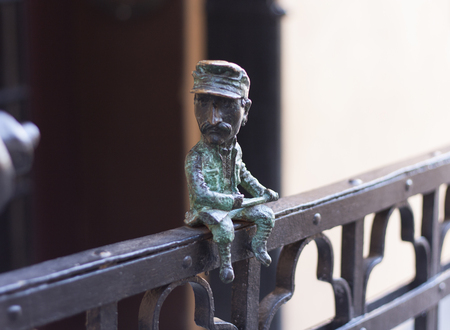 Mini metal sculpture of Nikolai Shugai photo in Uzhgorod, Ukraine - April 2, 2017