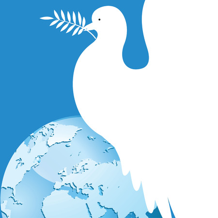 International day of peace dove over the world. White dove with an olive branch vector