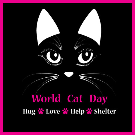 Cat head vector animal illustration for World cat day background text. Vector illustration. Sketch tattoo design.