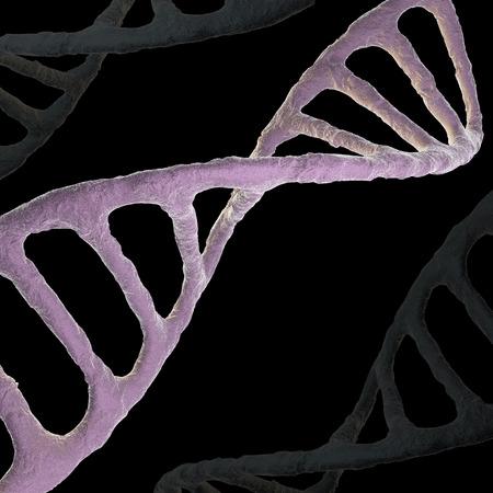 DNA biochemistry with dna molecule on blue background 3d illustration