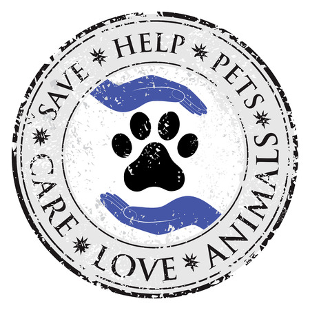Dog paw hand love sign icon. Pets symbol textured web button. Vector Grunge post stamp. Circle banner or label. Protect your dog or cat symbol.