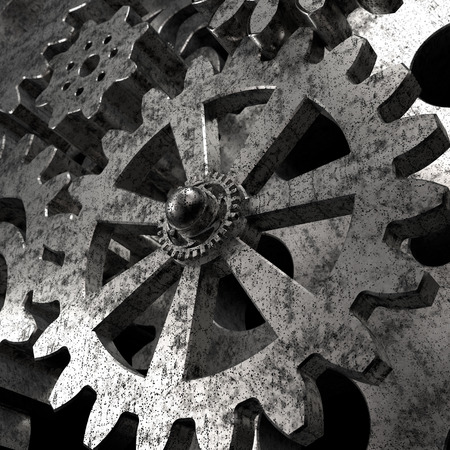 engine gear wheels, industrial 3d background