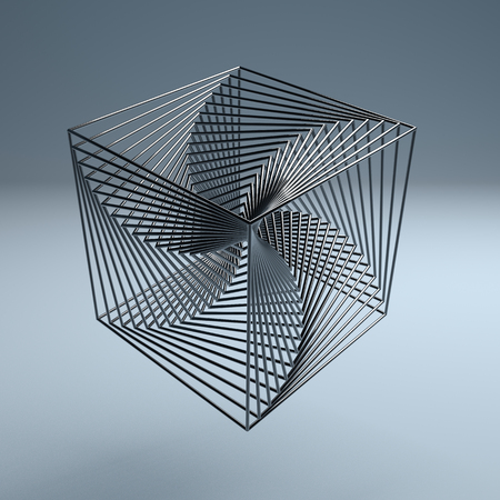 Abstract technology wire cube 3d logo metal background