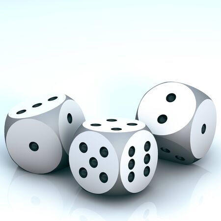 3d illustration of white realistic game dice icon in flight closeup . Casino gambling design template for app, web, infographics, advertising, mock up etc
