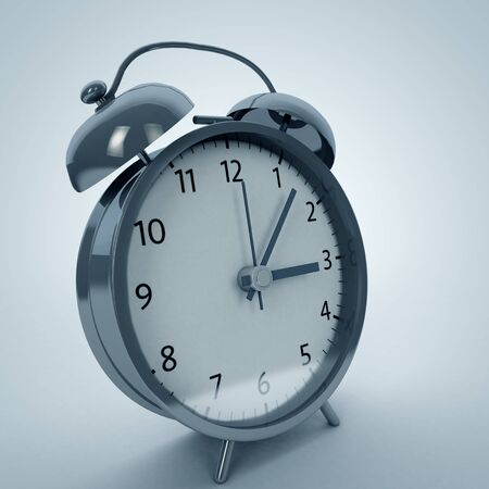 retro alarm clock on isolated background 3d illustration
