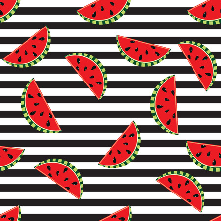 Seamless background watermelon slices on black and white stripes design for holiday greeting vector invitation of seasonal summer holidays, summer beach parties, tourism and travel Illustration