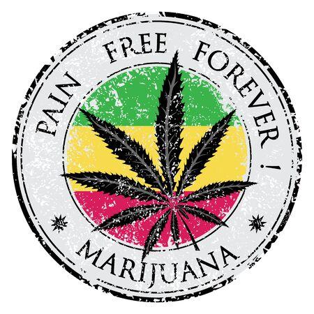 Cannabis- oder Marihuana-Blatt-Grunge-Design im Kreis Vektorgrafik