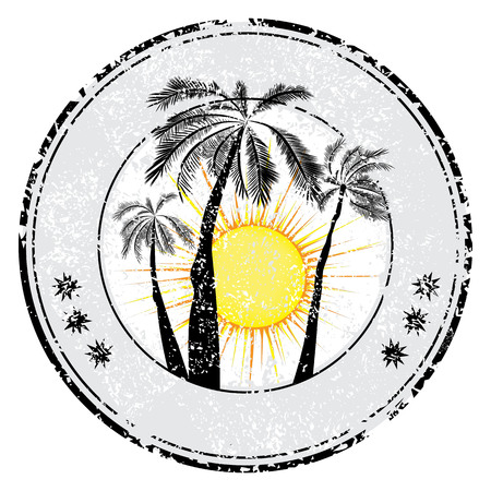 Tropical grunge rubber stamp with palm sun space for your text , vector illustration Çizim