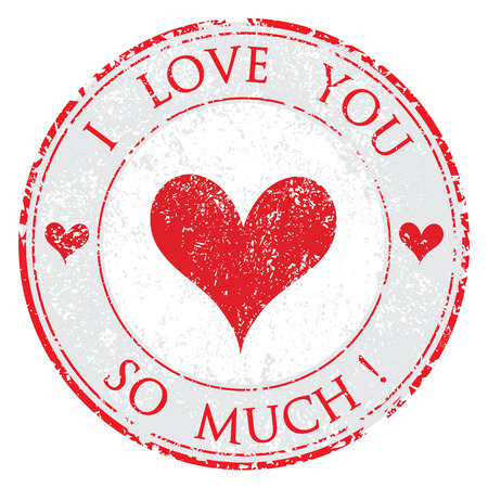 Grunge rubber valentine's day i love you so much red stamp on white
