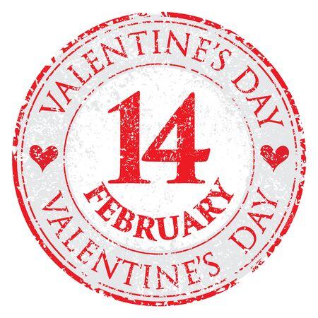 Grunge love heart Valentines Day stamp on white