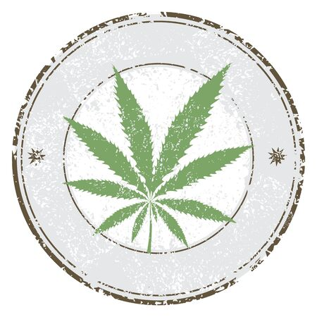 Cannabis or marijuana leaf grunge design in circle, template for vector rubber stamp. Vector illustration. Illustration