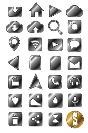 silver: Set of silver icons