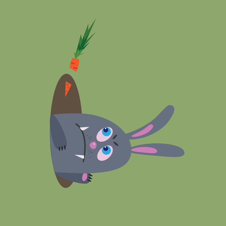 hungry rabbit, vector illustration Illustration