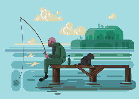 bridge in nature: fisherman, vector illustration for web site
