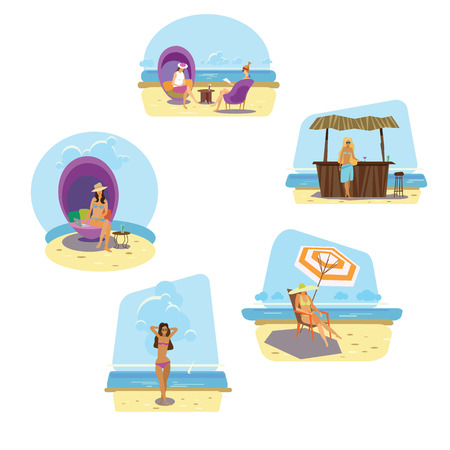 scarf beach: beach, vector illustration for web site and printing Illustration