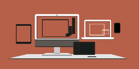 worktops: A set of computer devices, monitors, laptops, tablet PCs and mobile phones. Electronic gadgets, vector illustration for web design and printing.