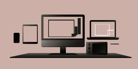 A set of computer devices, monitors, laptops, tablet PCs and mobile phones. Electronic gadgets, vector illustration for web design and printing.