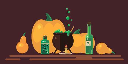 Halloween - a flat image, vector illustration, a set of elements.