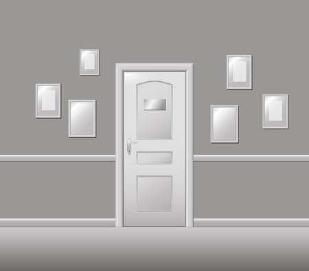 furnish: Doors, walls, frames for photos and paintings, architectural detail, vector illustration. Illustration
