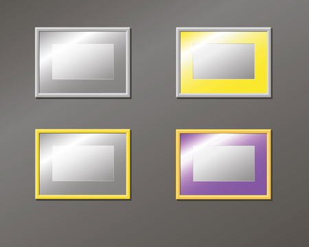 furnish: Set horizontal empty frame on the wall, pattern, vector illustration Illustration