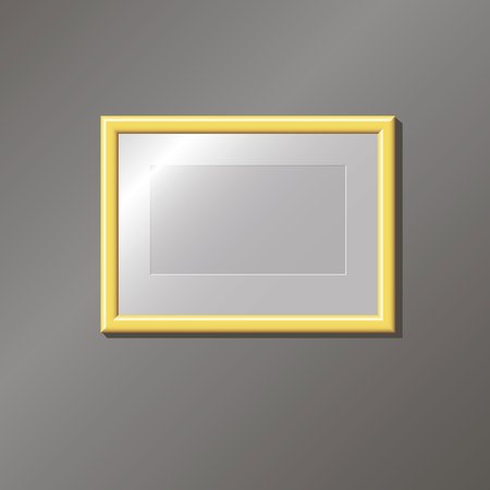 furnish: Empty gold frame on the wall, editable, template, vector illustration