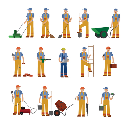 mason: A construction worker, a collection of vector illustrations of a flat style.