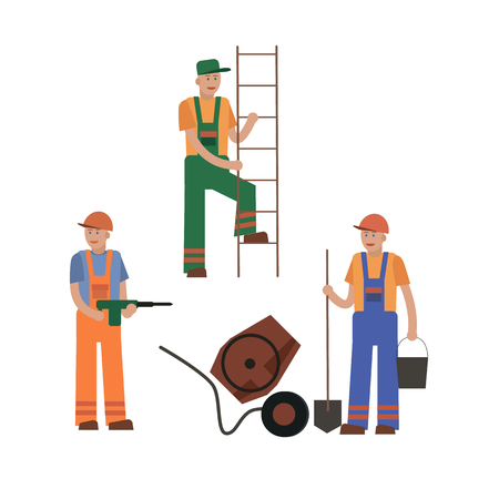 gun control: A construction worker, a collection of vector illustrations of a flat style.