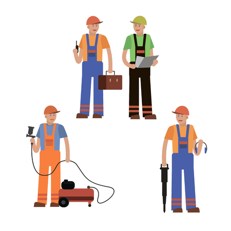 plasterer: A construction worker, a collection of vector illustrations of a flat style.
