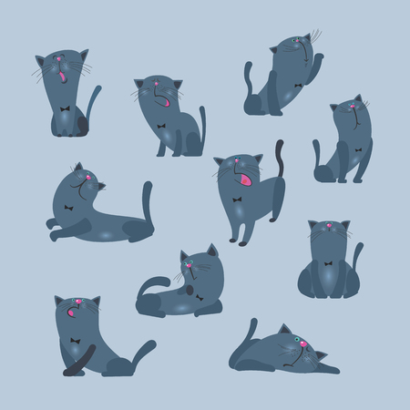 Cats, collection of vector illustrations of a flat style.