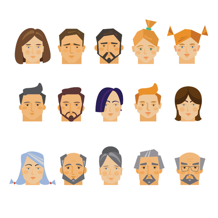 Faces of people, collection of vector illustrations of a flat style.