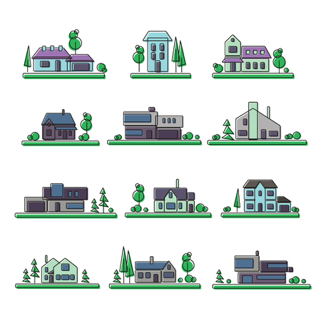 grass plot: Small house, collection of vector illustrations of a flat style. Illustration