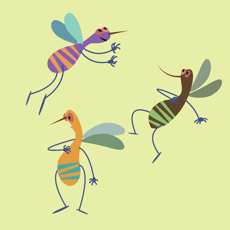 Mosquito, insect, collection of vector illustrations of a flat style.