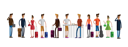 Vector illustration of travelers with luggage Vectores