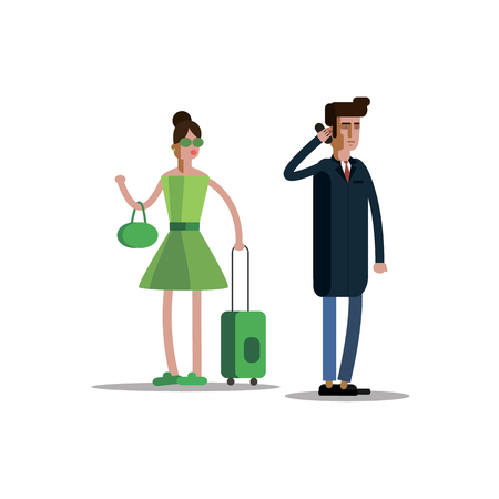 Man in a way, vector illustration of a flat style. Ilustrace