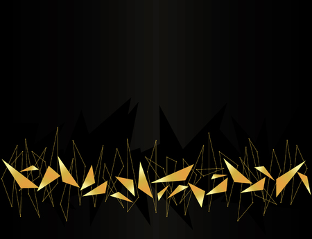 Abstract golden geometric background vector with triangles.