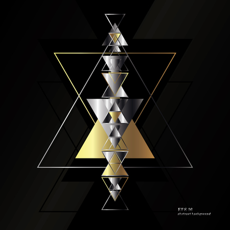 Geometric, abstract, gold, vector background with triangles. Illusztráció