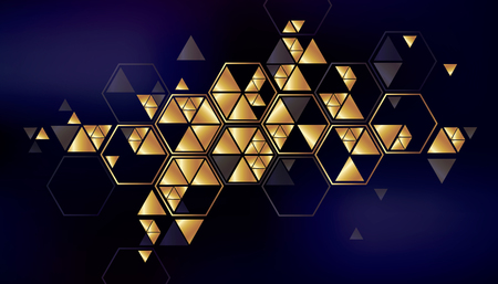 plate: Geometric, abstract, gold, vector background with triangles. Illustration