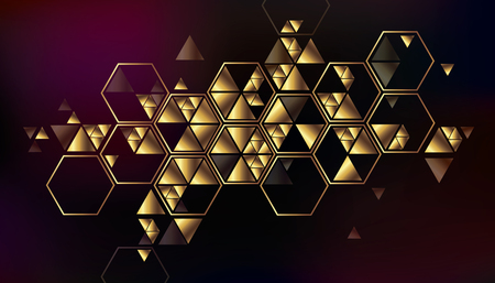 metal textures: Geometric, abstract, gold, vector background with triangles. Illustration