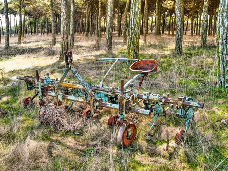 the stands: Machinery plow into disuse.  Stands out the blue and red colors that still retains.