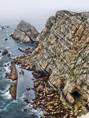 cantabrian: Rocky coast bathed by the Cantabrian Sea.  Asturias.  Spain.