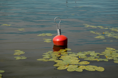 Floating red buoy